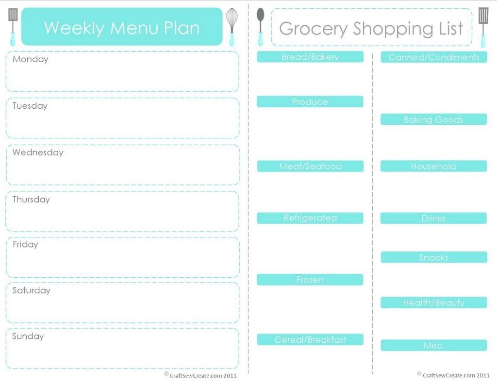 Week Menu Planner Template