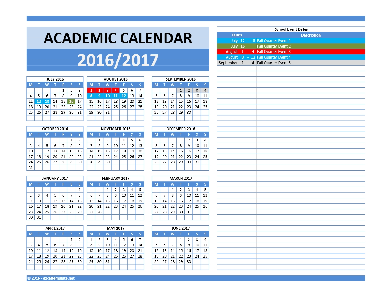 School Event Calendar Template