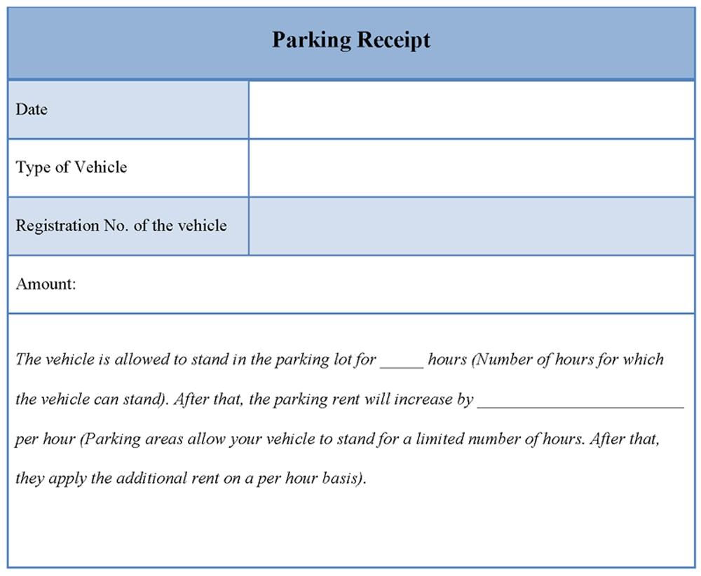 Airport Parking Receipt Template