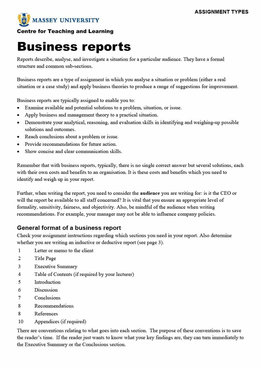 Sample Business Report Template