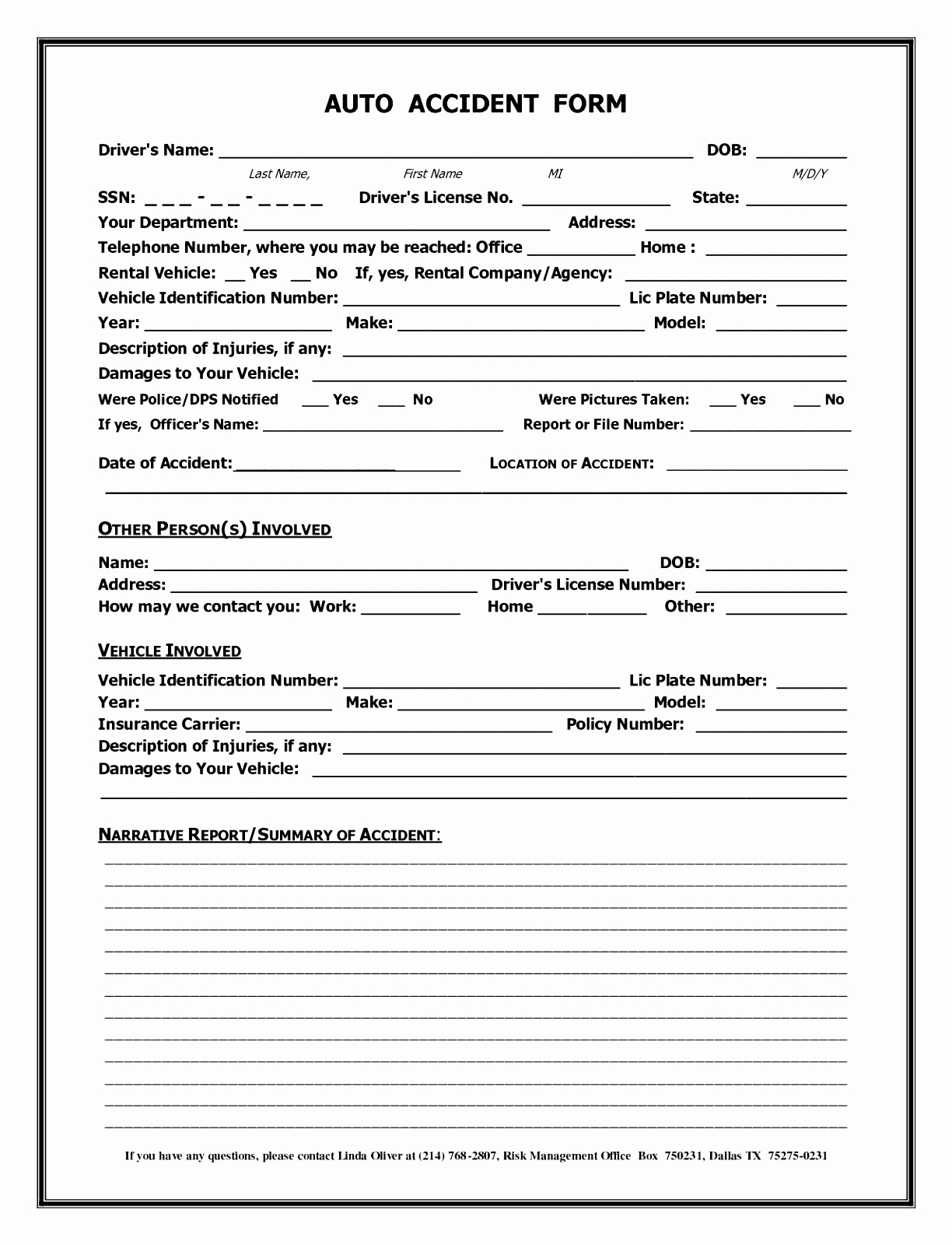 Car Accident Report Form Template