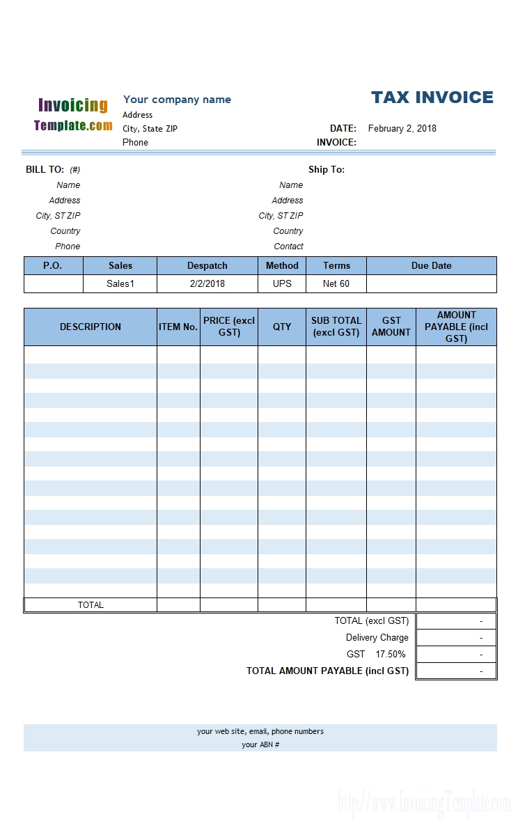Australia Tax Invoice Template