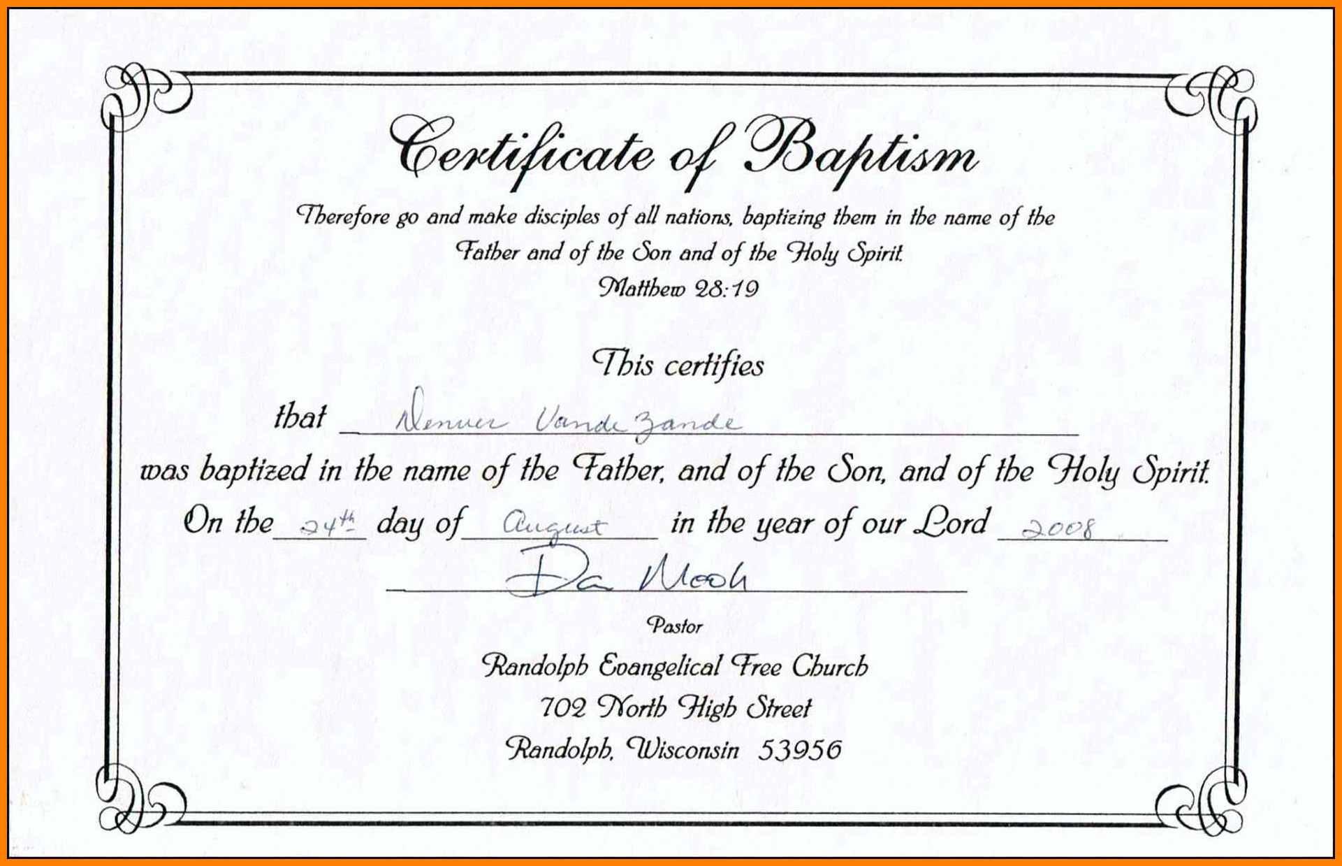 Christening Certificate Template