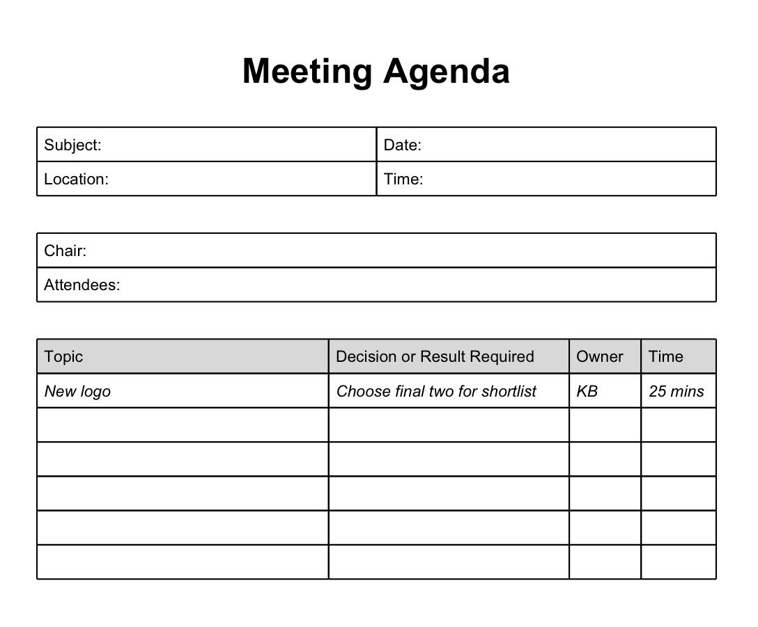 Blank Meeting Minutes Template