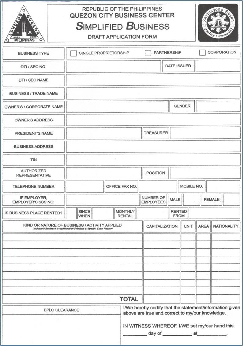 Business License Forms Templates
