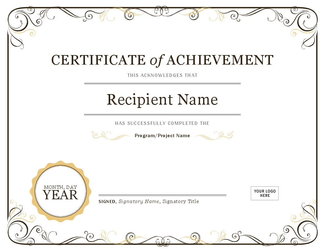 Certificate Of Excellence Award Templates