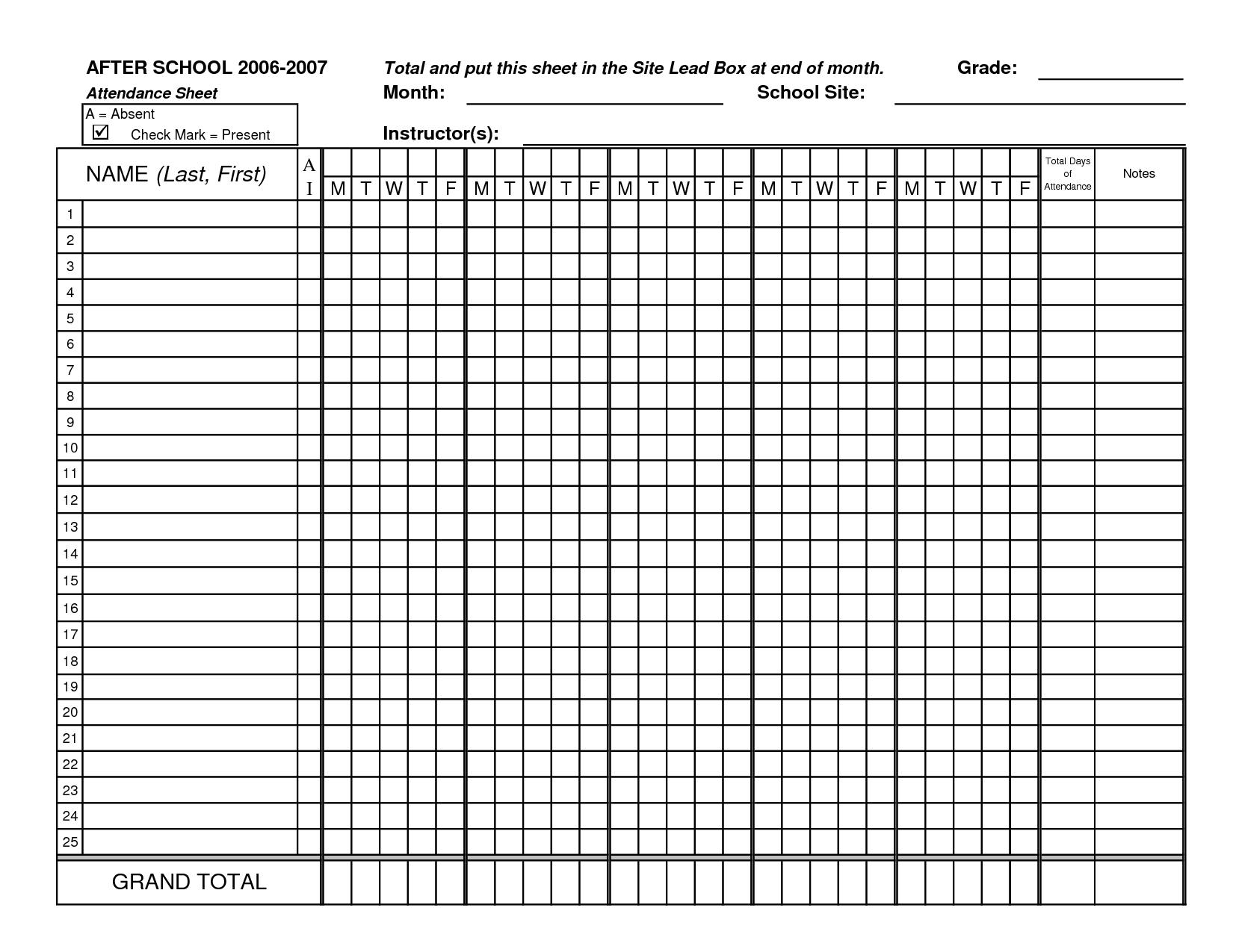 Monthly Class Attendance Sheet Template