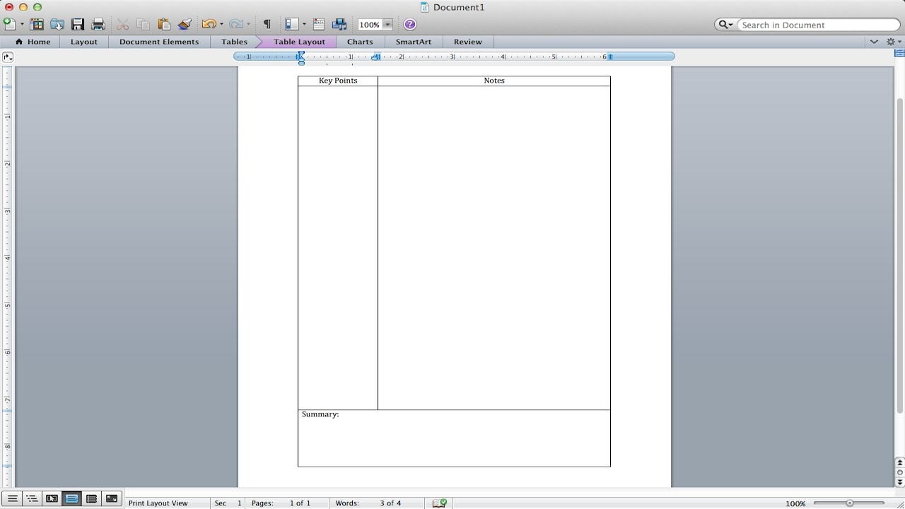 Cornell Note Taking Template Word