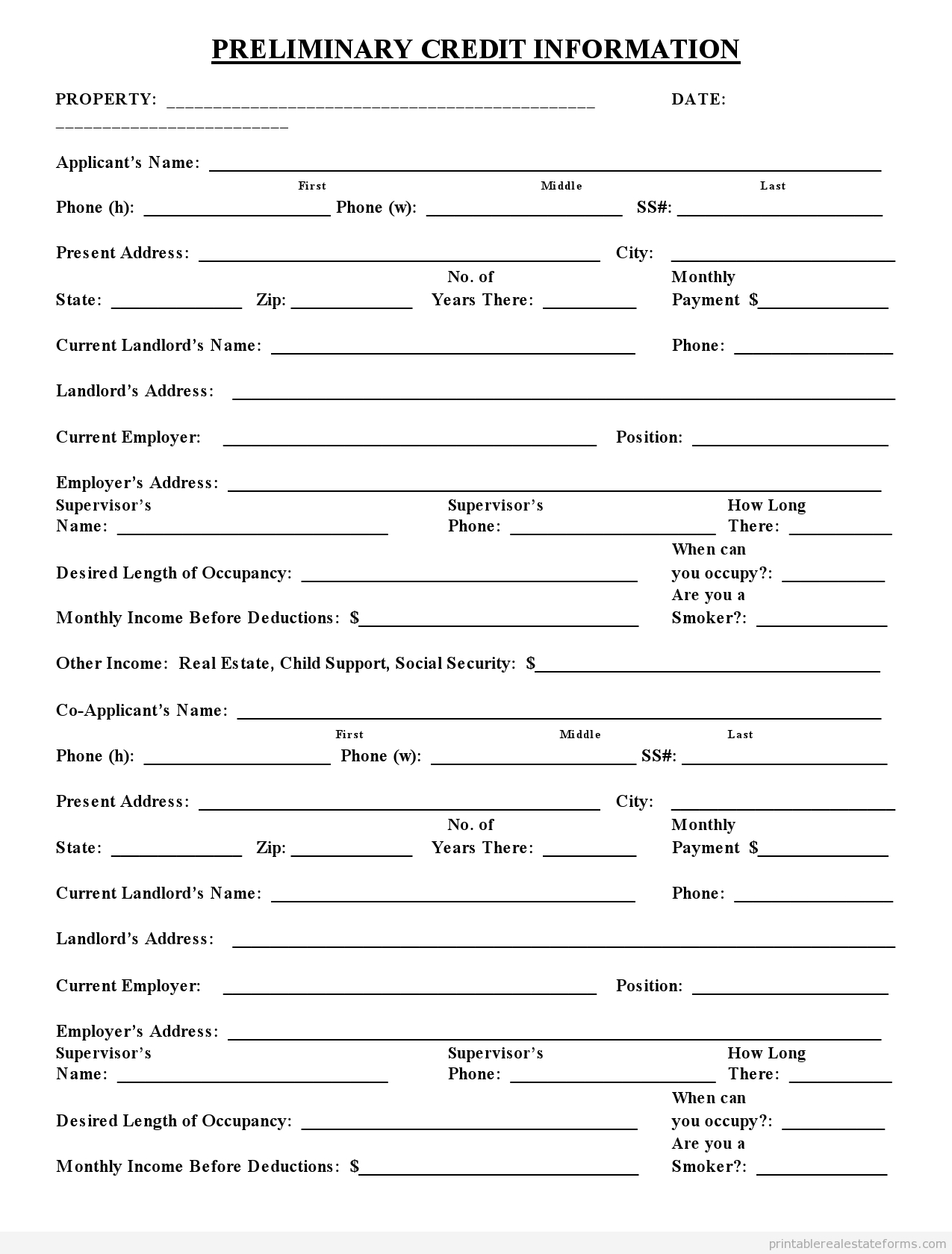 Blank Credit Application Form Templates
