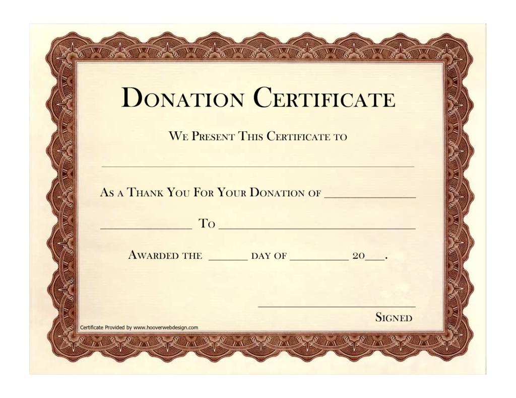 Donation Appreciation Certificate Template