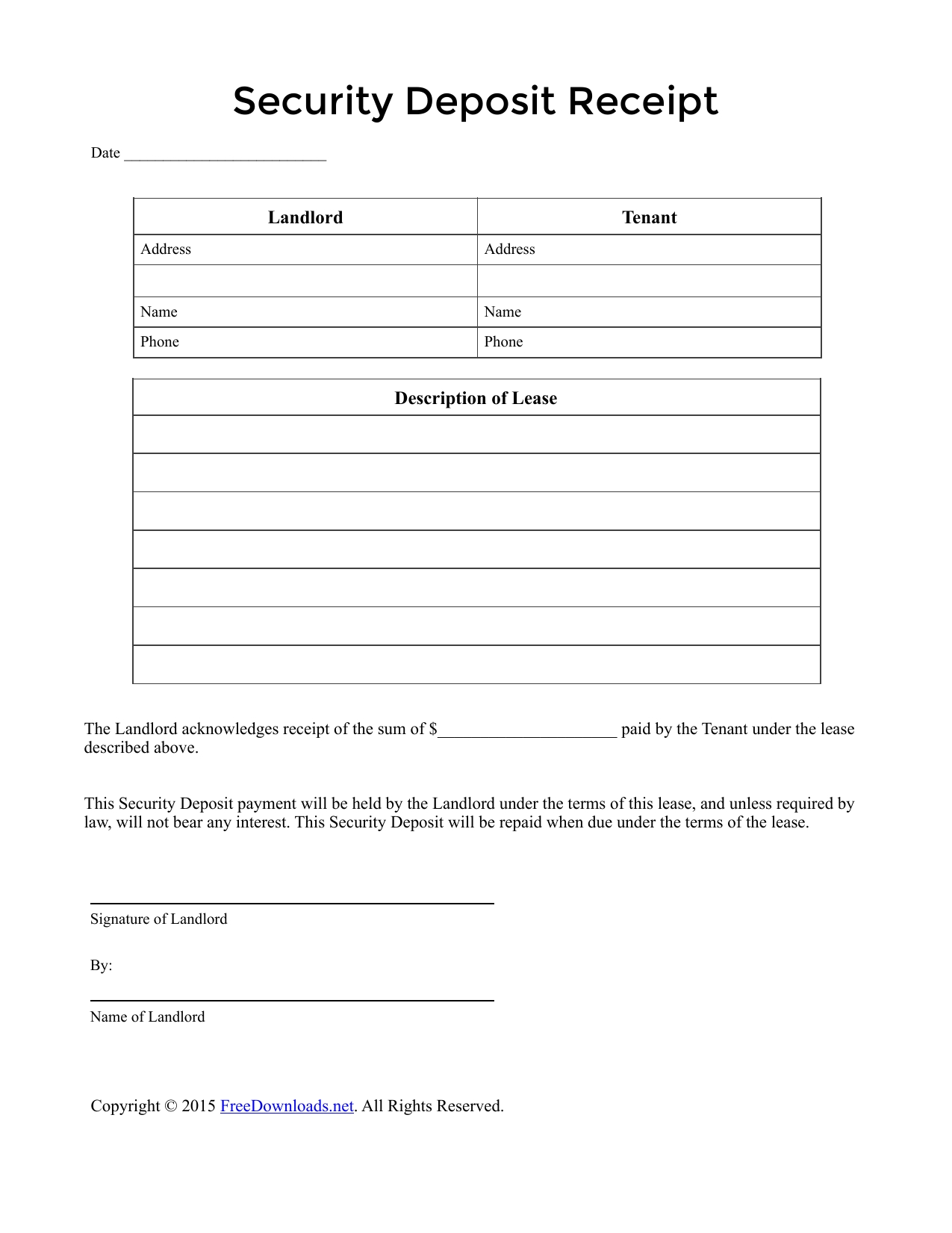 Security Deposit Receipt Template | Qualads