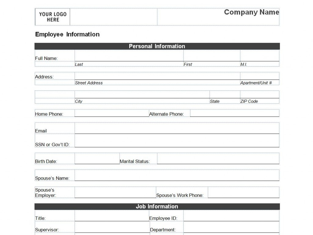 Free Employee Information Form Template