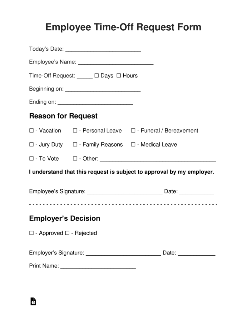 Vacation Request Form Template