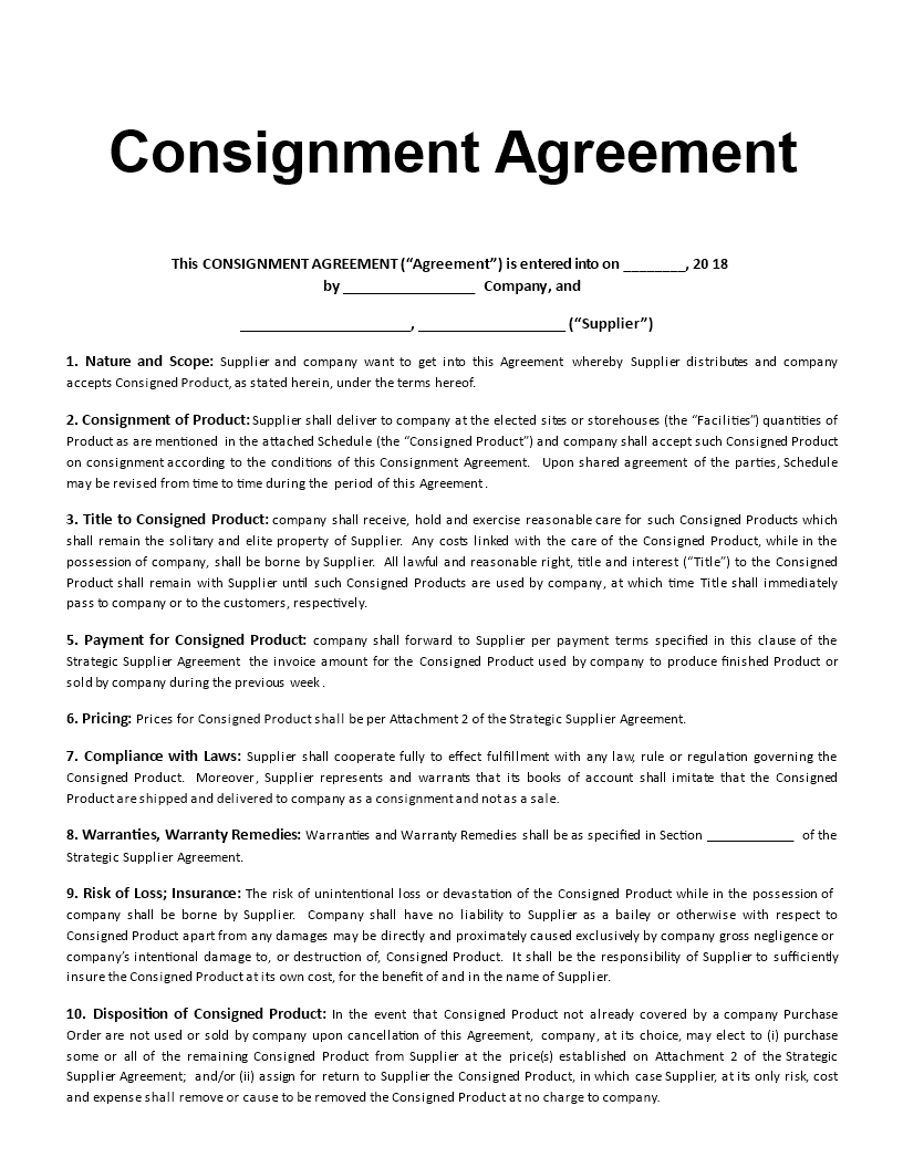 Consignment Agreement Template