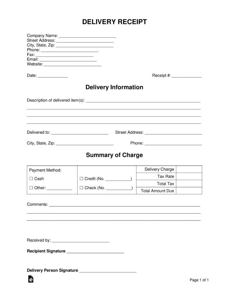 Free Delivery Receipt Template Word Pdf Eforms Free Fillable