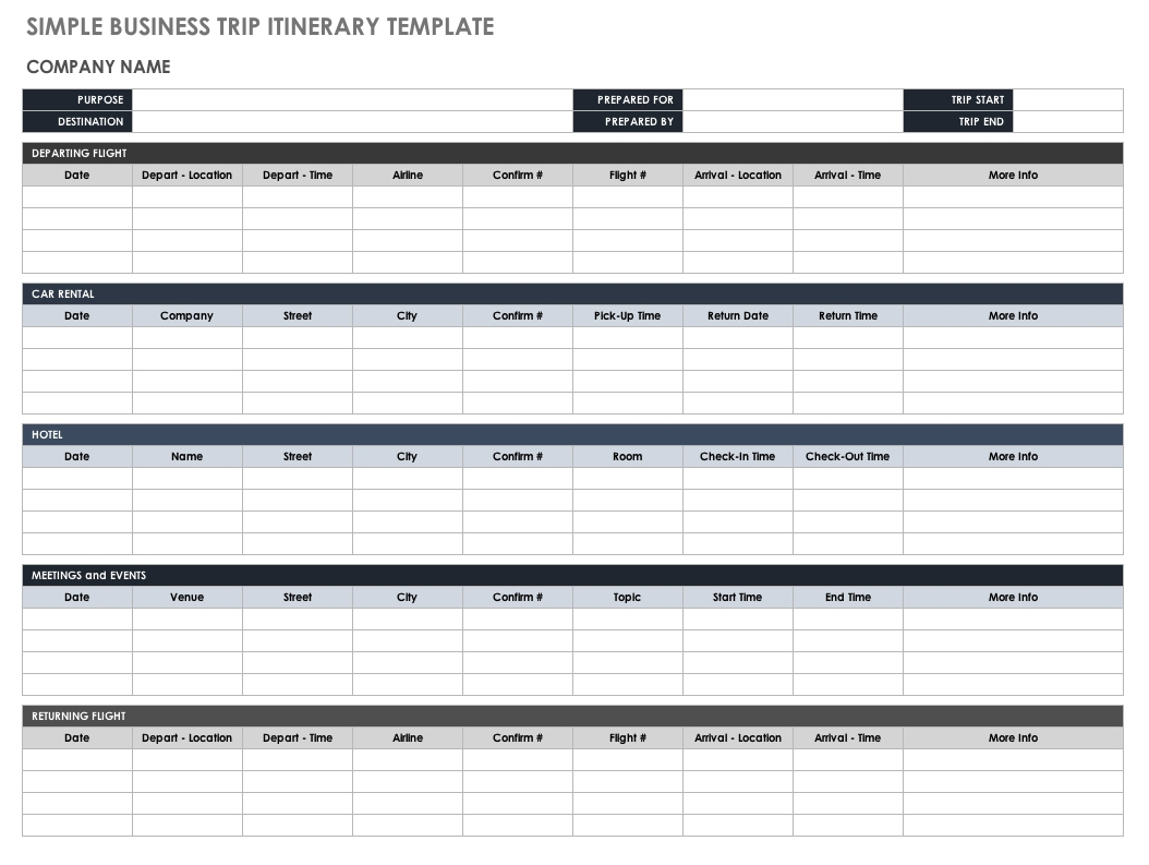 Travel Itinerary Template
