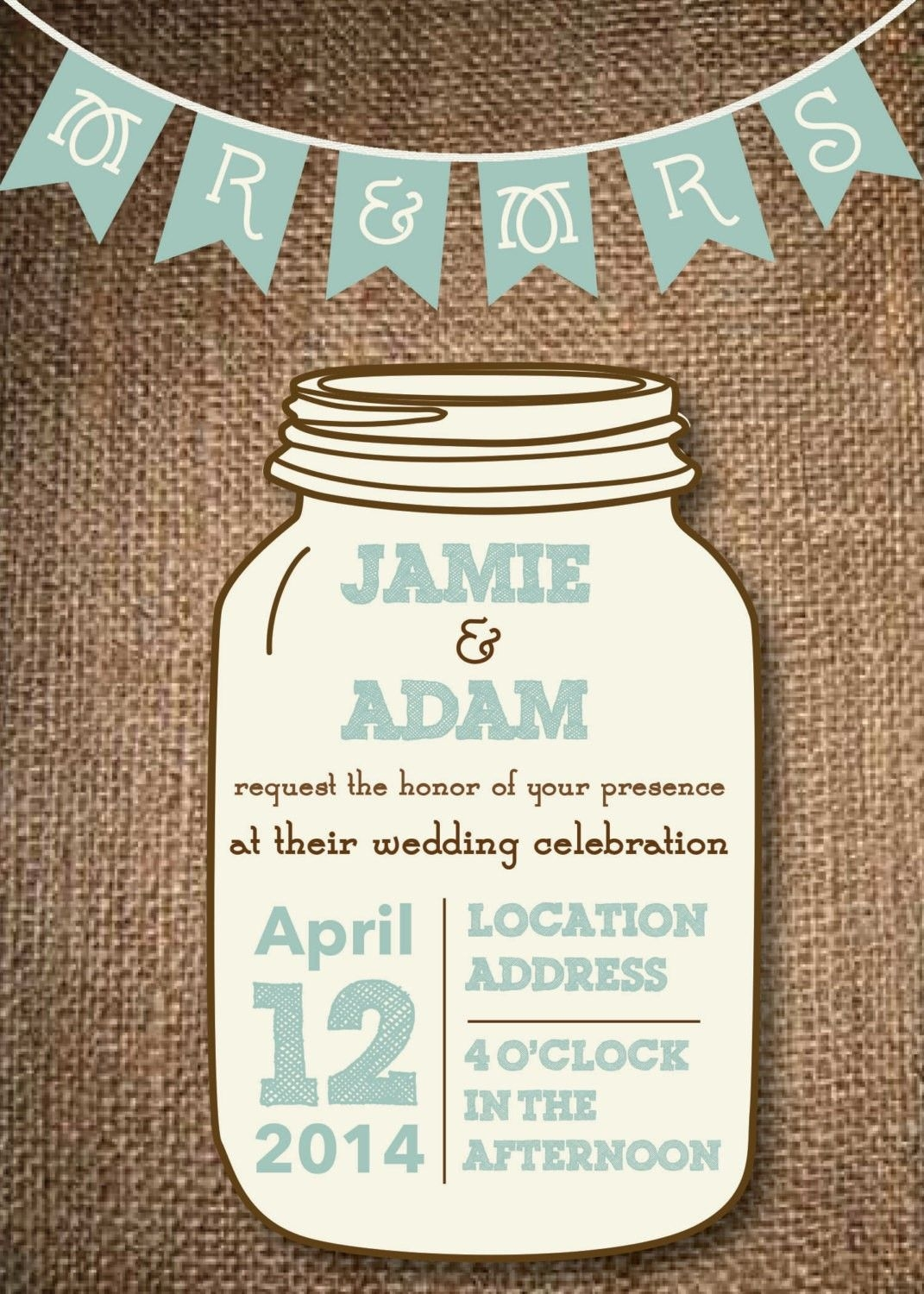 Free Jar Templates Mason Jar Wedding Invitations Future Mrs
