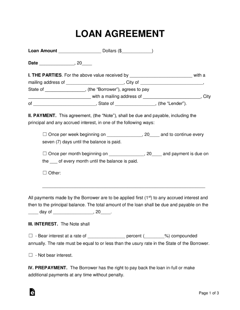 Simple Loan Agreement Template