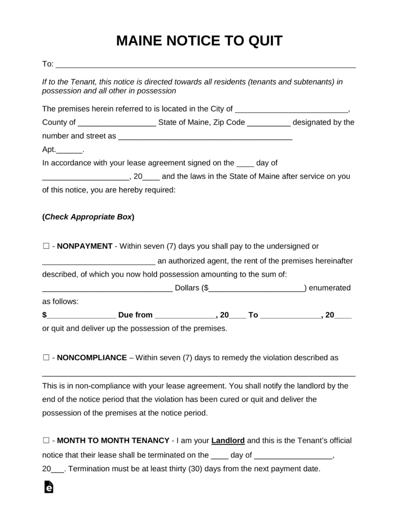 Maine Eviction Notice Template