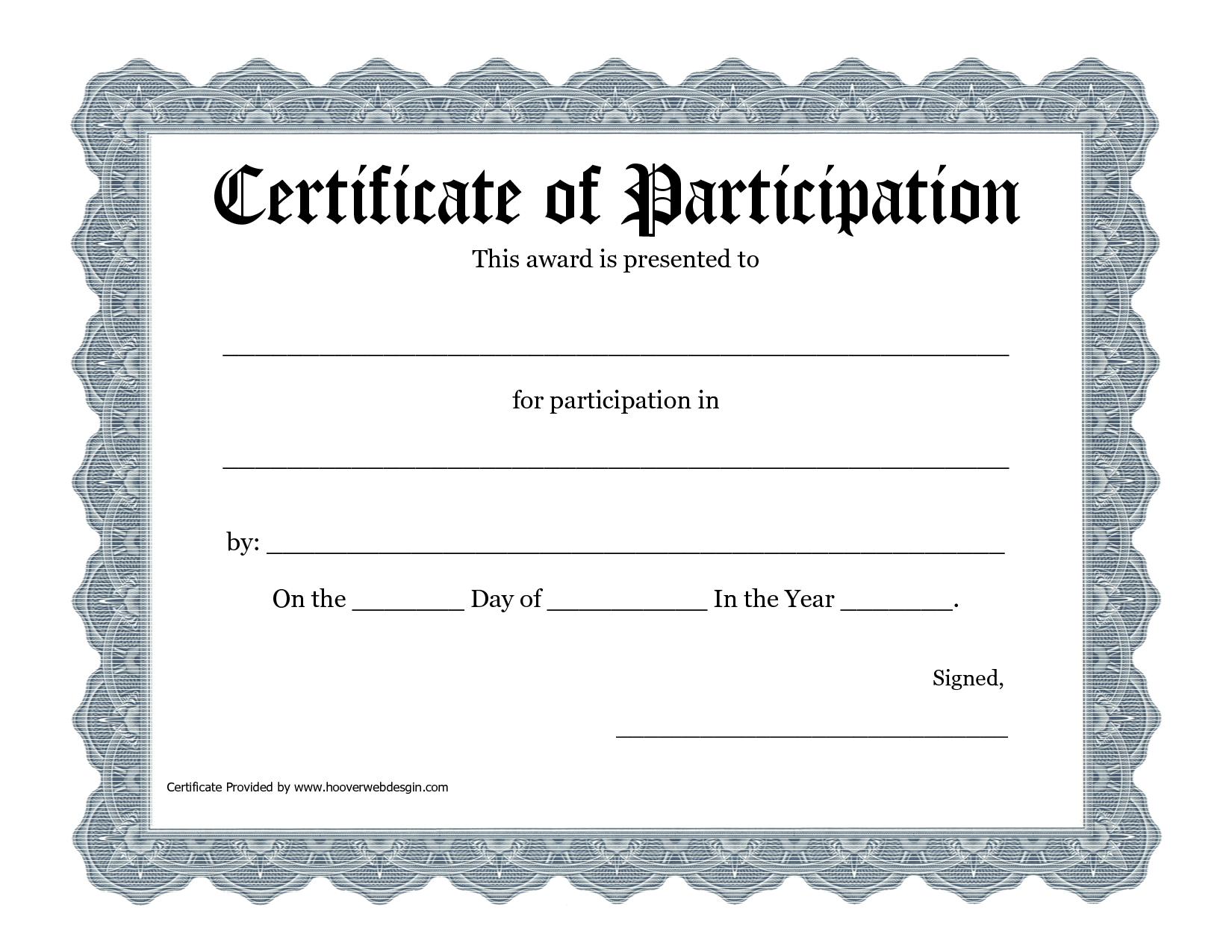 Participation Award Certificate Templates