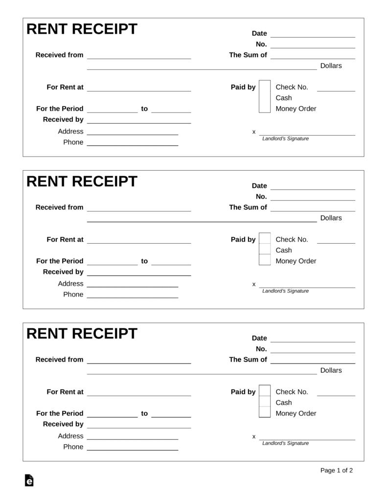 Rent Receipt Template Microsoft