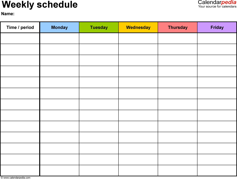 Sample Weekly Calendar Template