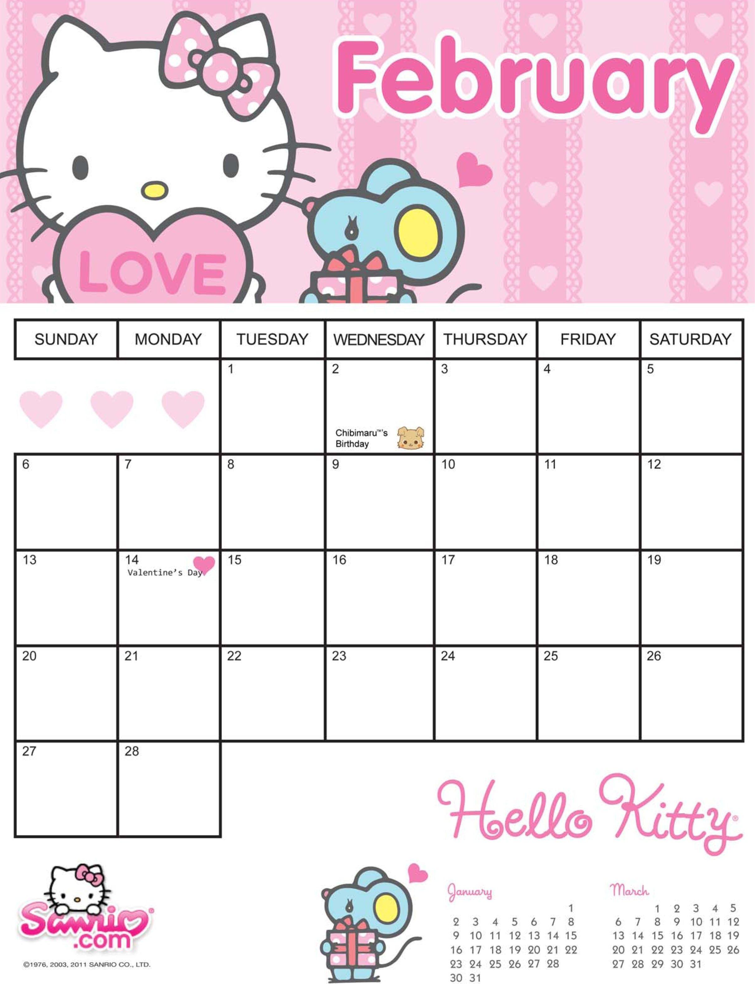 Hello Kitty Printable Calendar Template