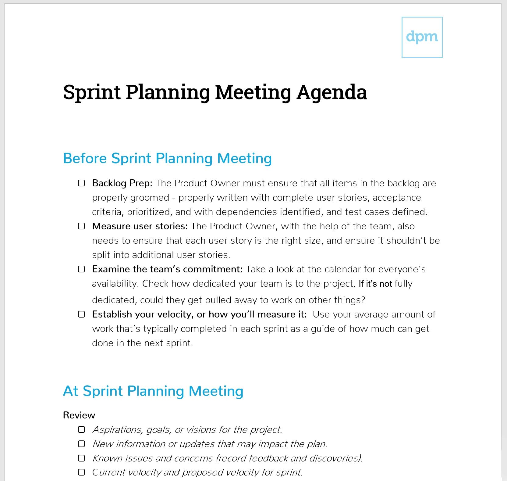Planning Meeting Agenda Template