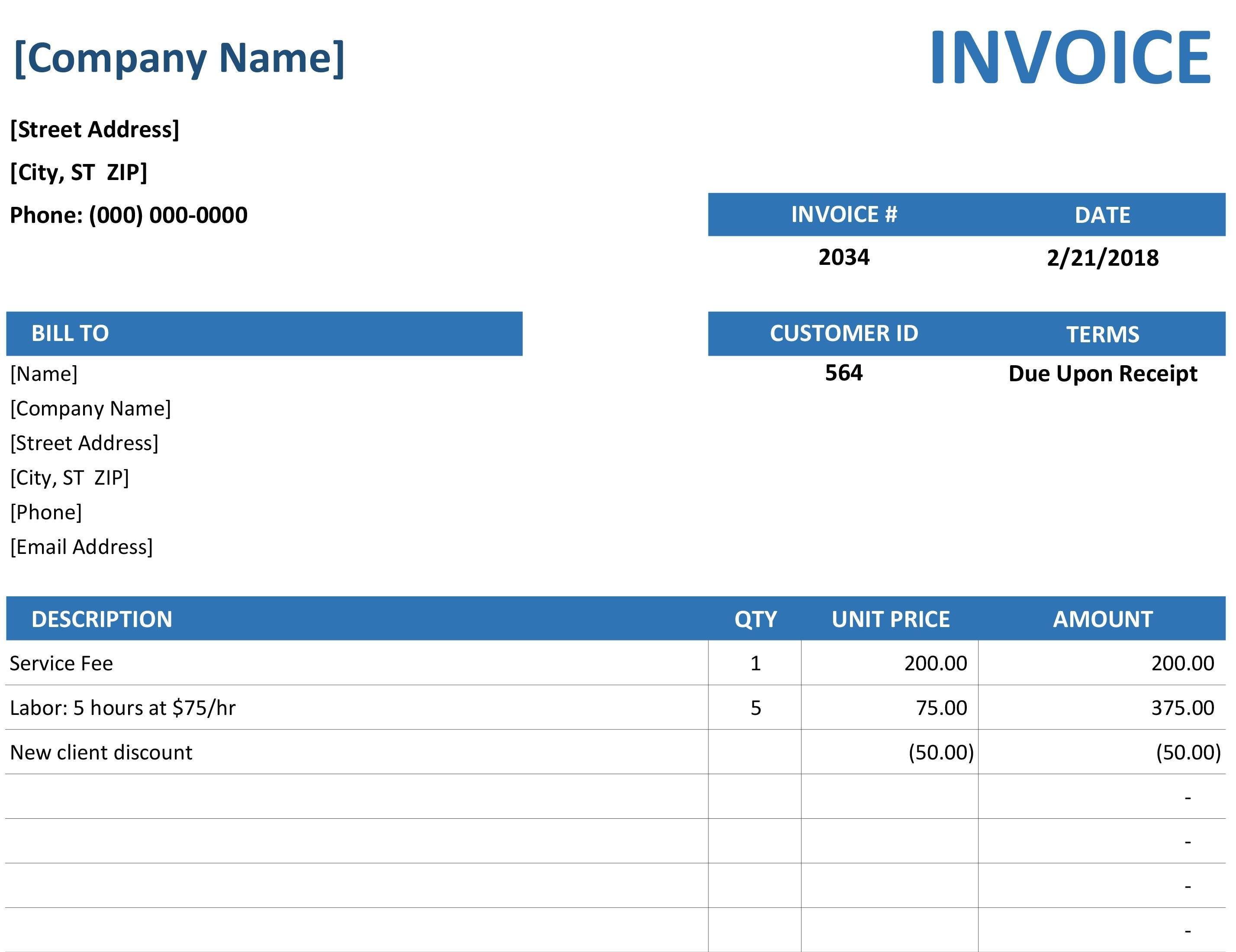 Microsoft Office Invoice Templates