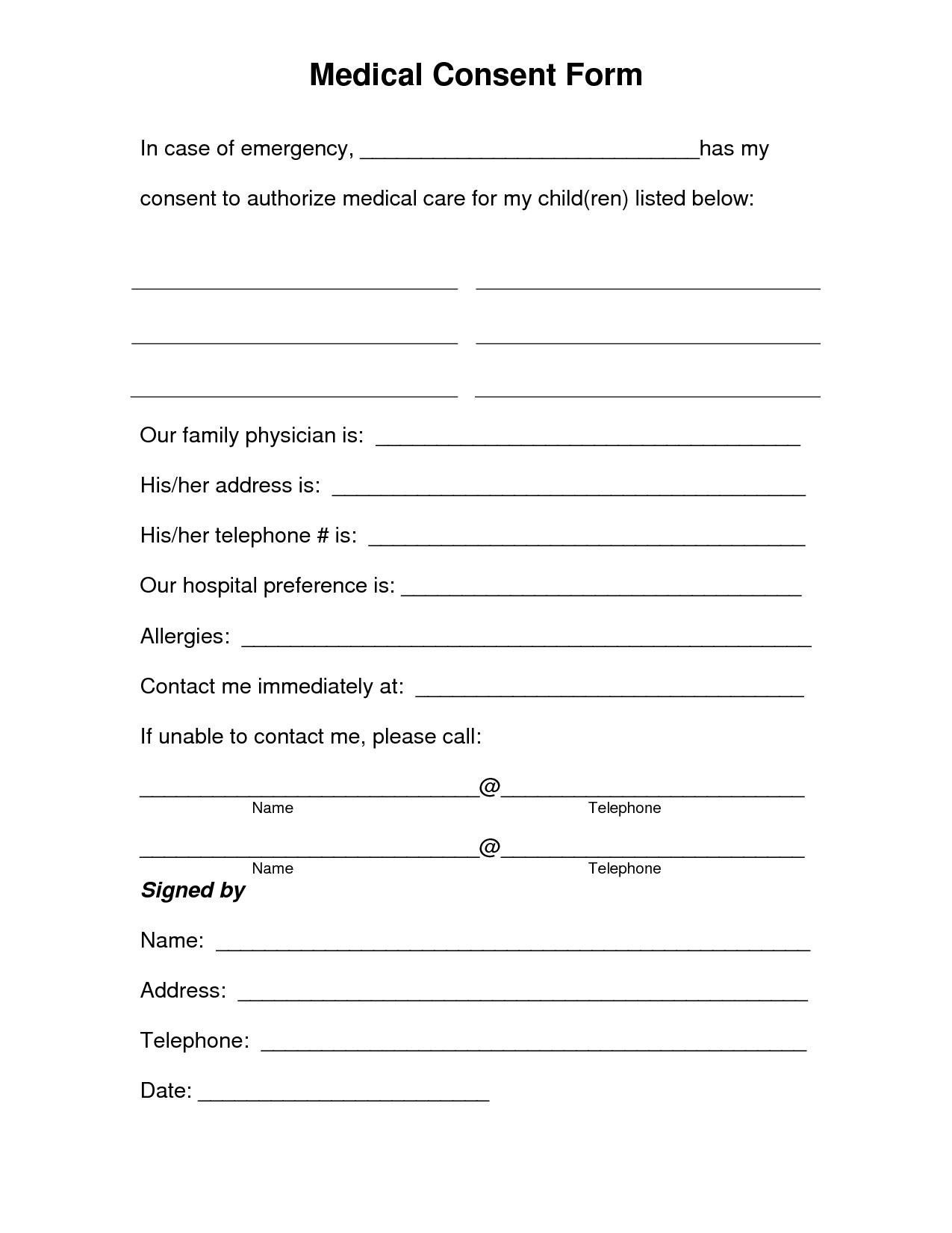 Printable Permission Slip Templates