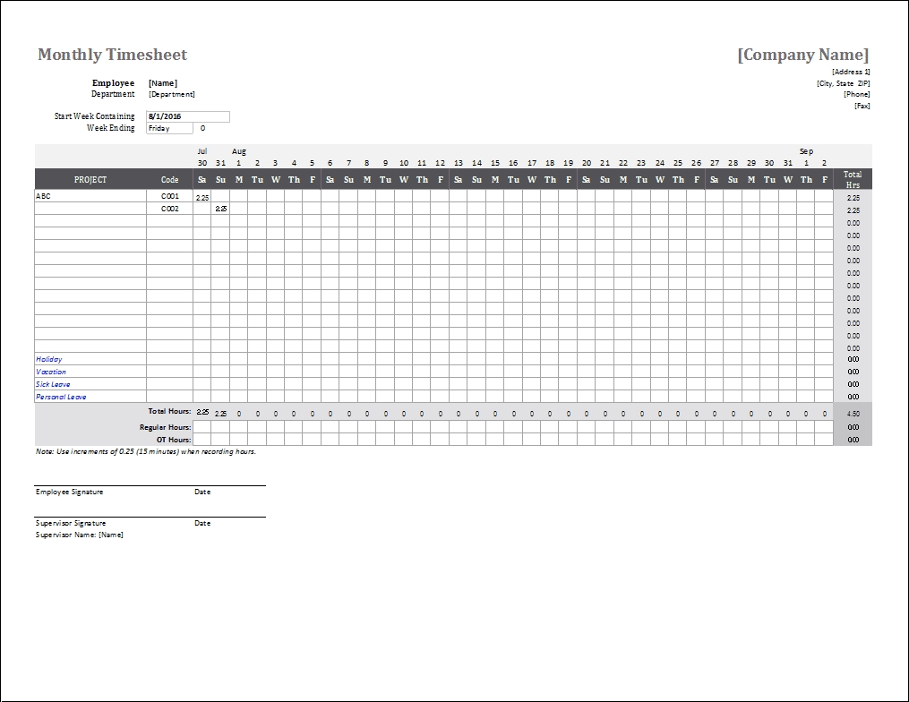 Free Excel Time Sheet Template