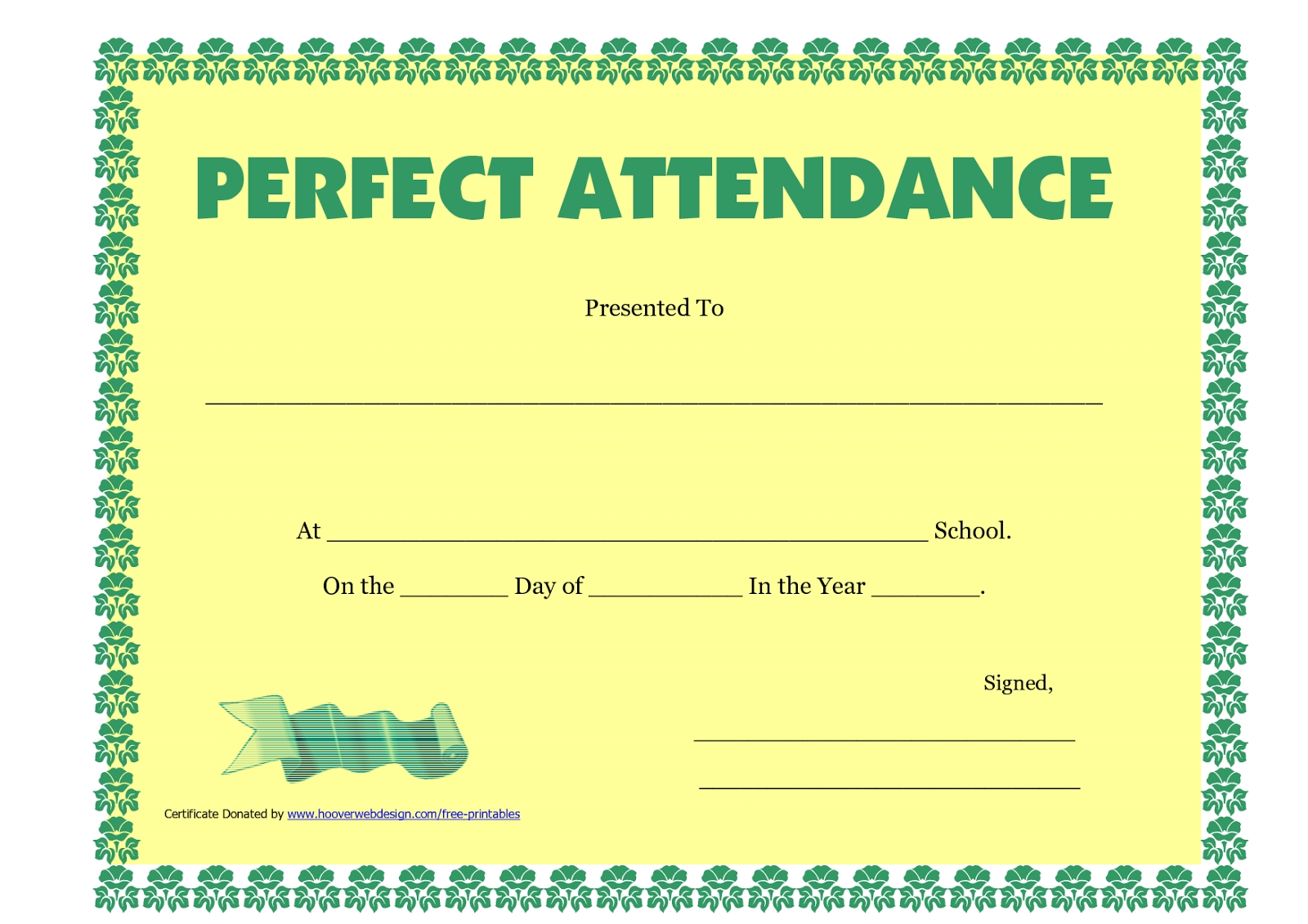 Perfect Attendance Certificate Printable Free Download D Templates
