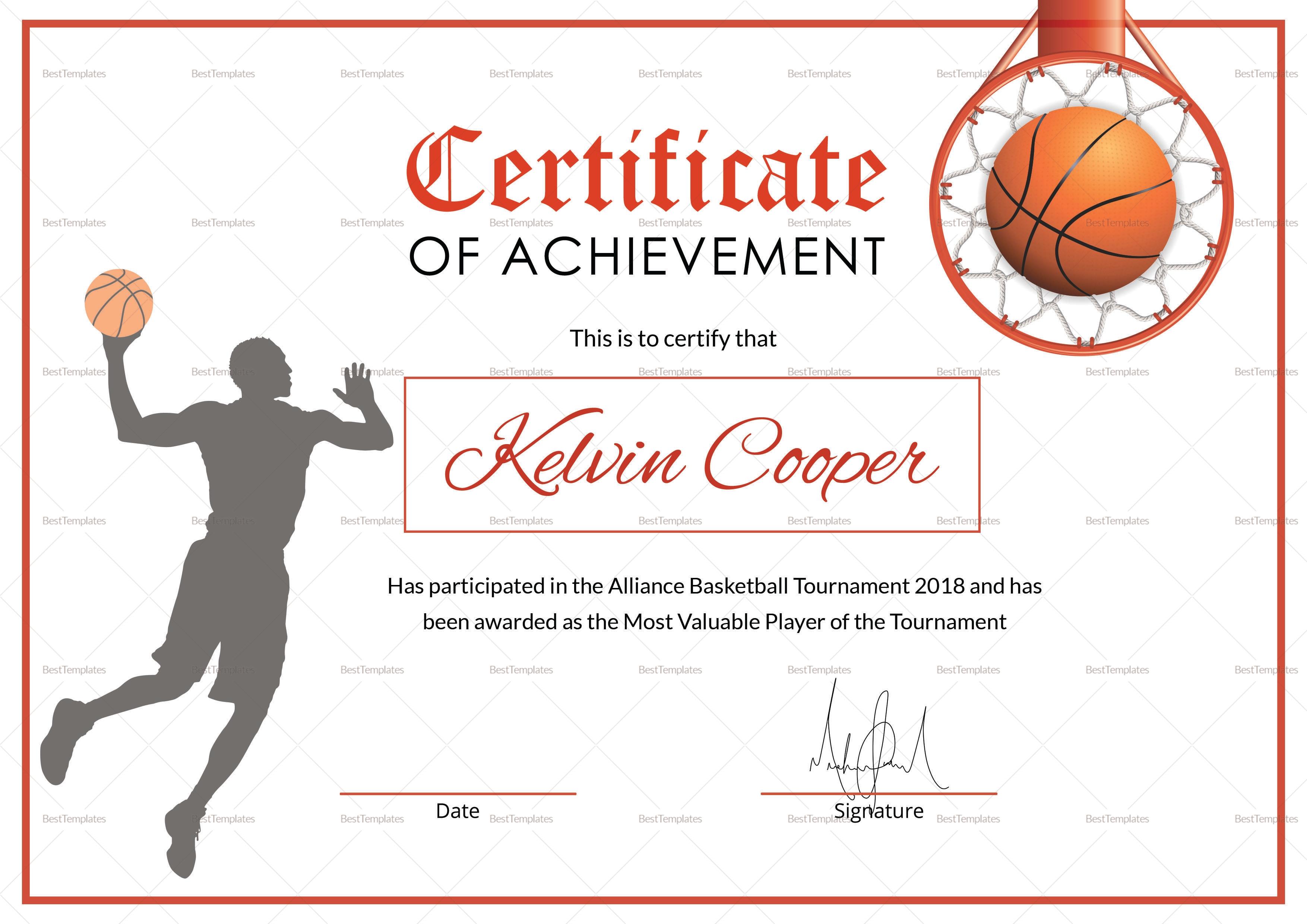Printable Basketball Award Certificate Templates