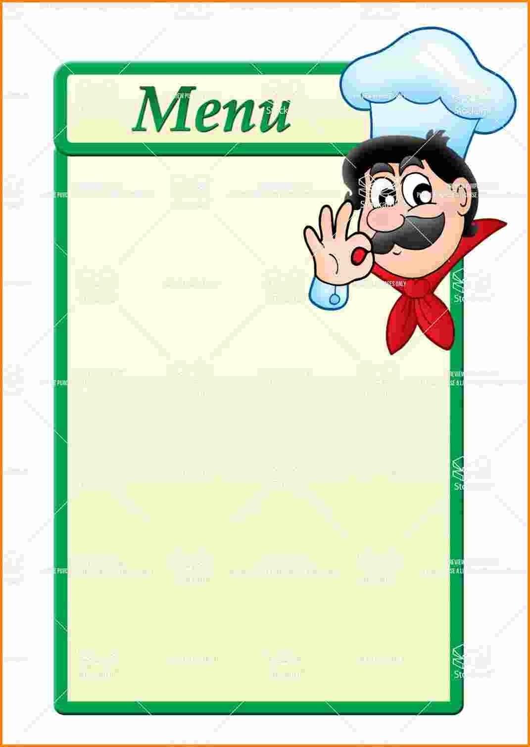 Free Printable Blank Menu Templates