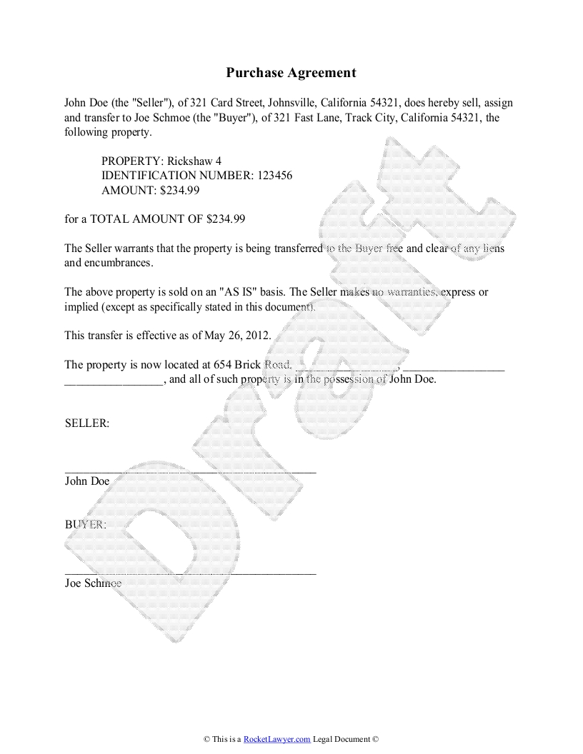 Purchase Agreement Contract Template