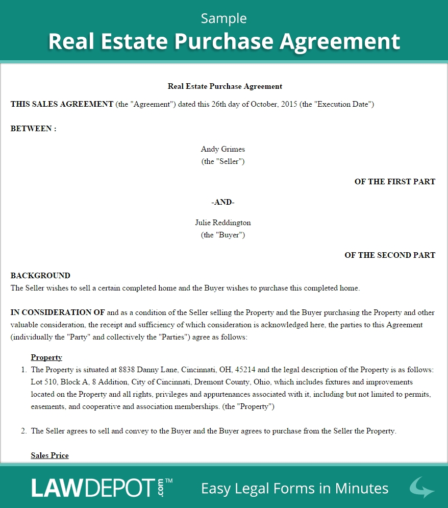 Real Estate Sales Agreement Template