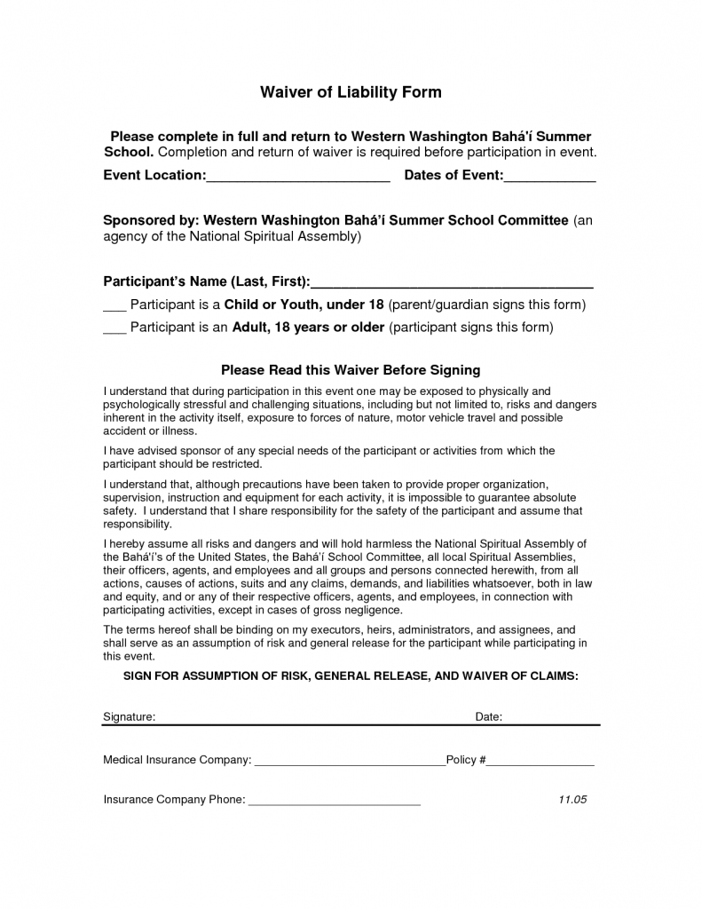 Release Of Liability Car Accident Form Liability Liability Release