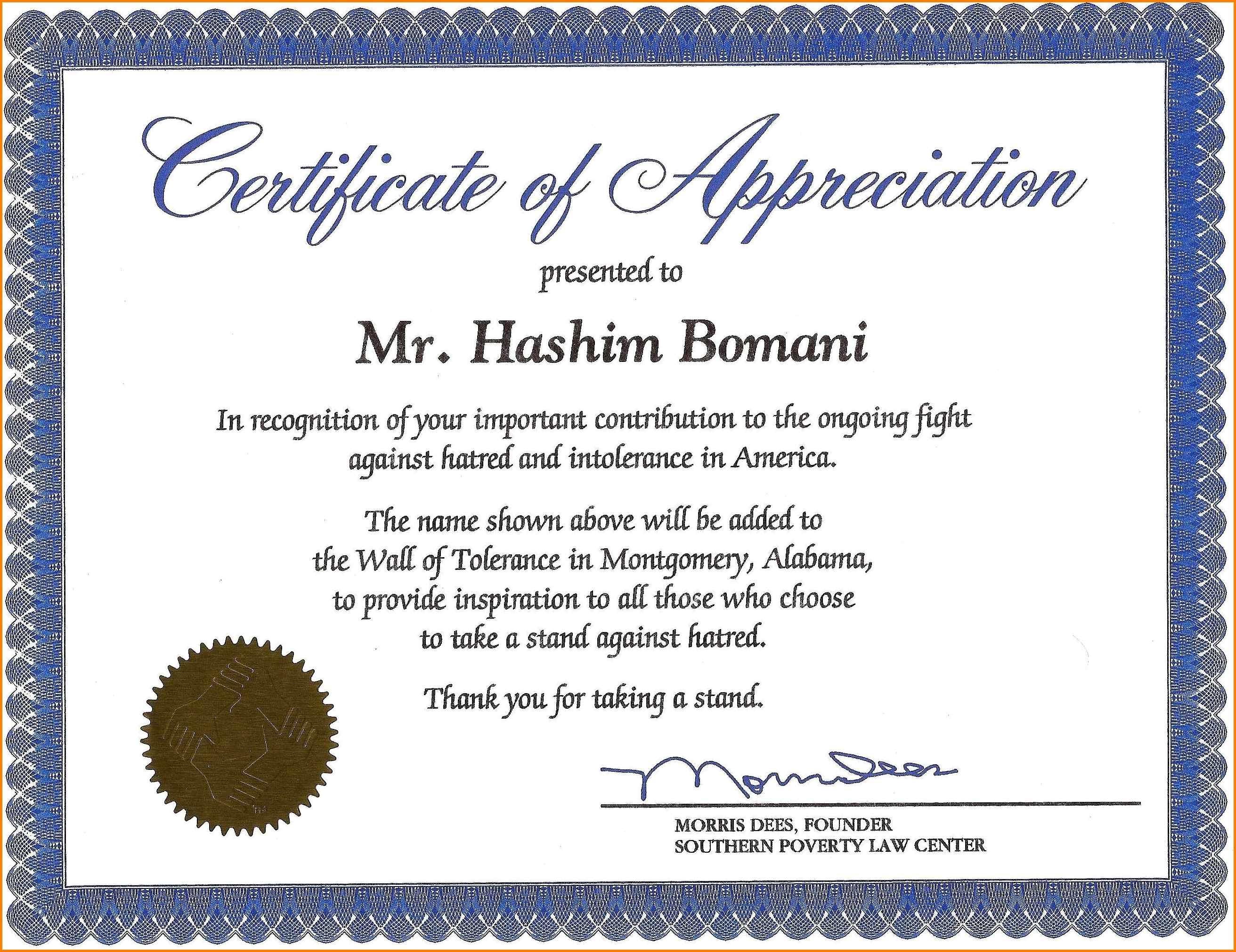 Sample Wording Certificates Appreciation Templates