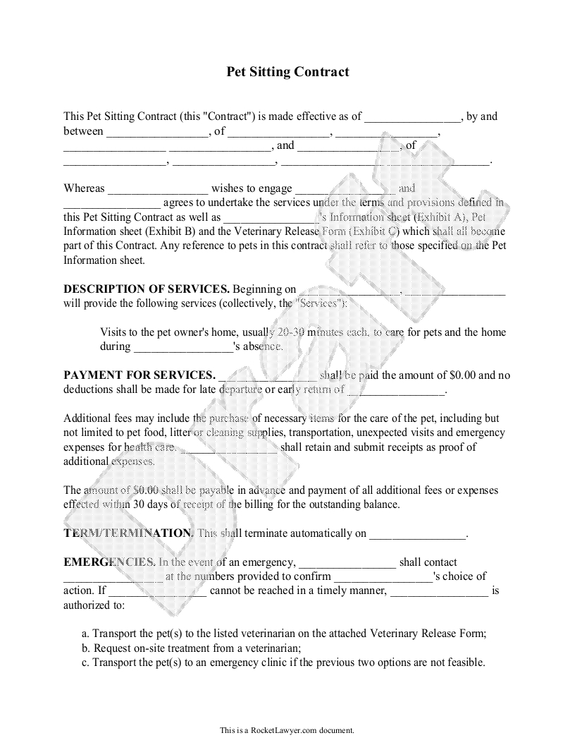 Pet Sitting Contract Form Template