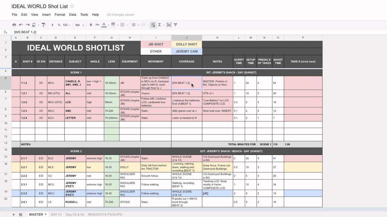 Shot List Template
