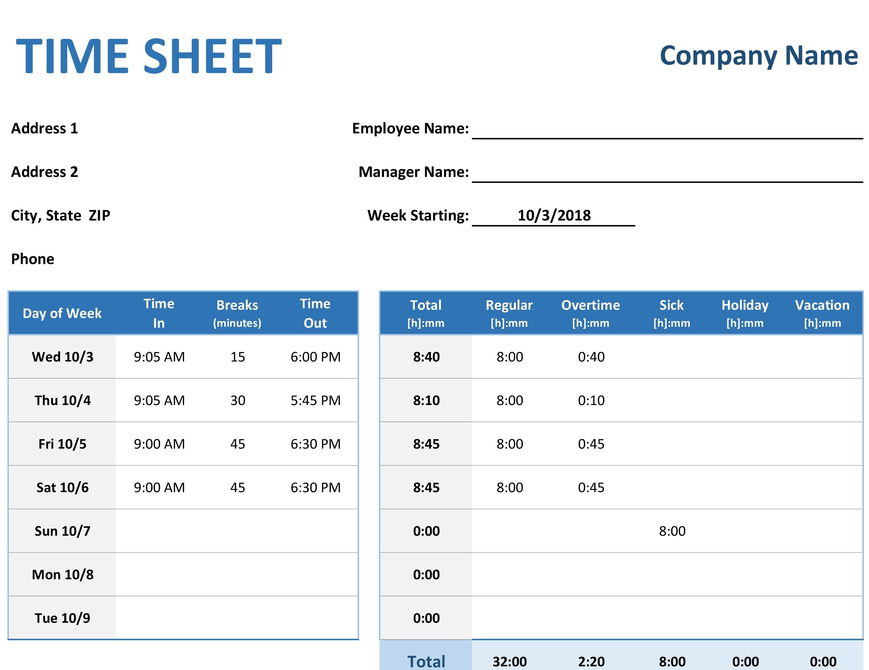 Calendar Timesheet Template Excel