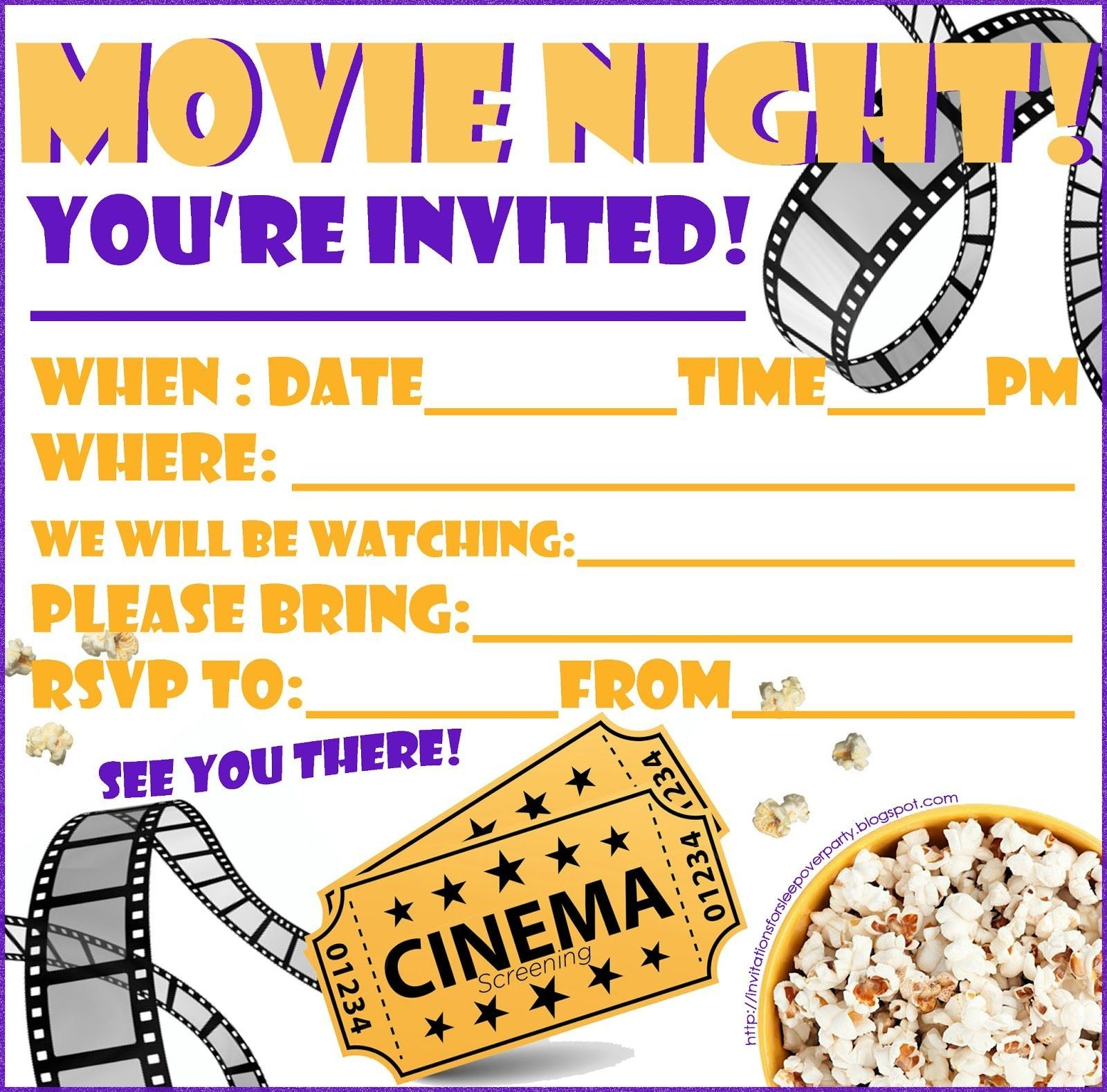 Movie Party Invitations Blank Template