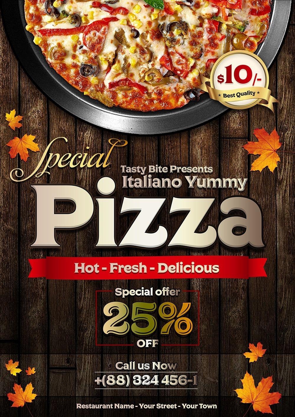 Vintage Pizza Flyer Template Design Psd 1 Pizatemplet Pizza