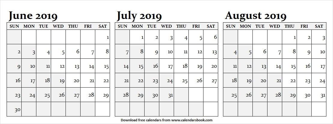 July August 2019 Calendar Editable
