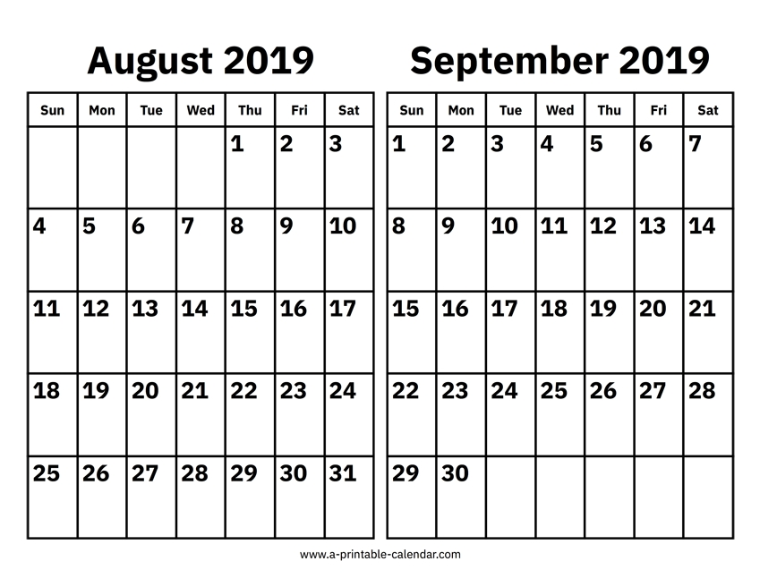 Print August September 2019 Calendar