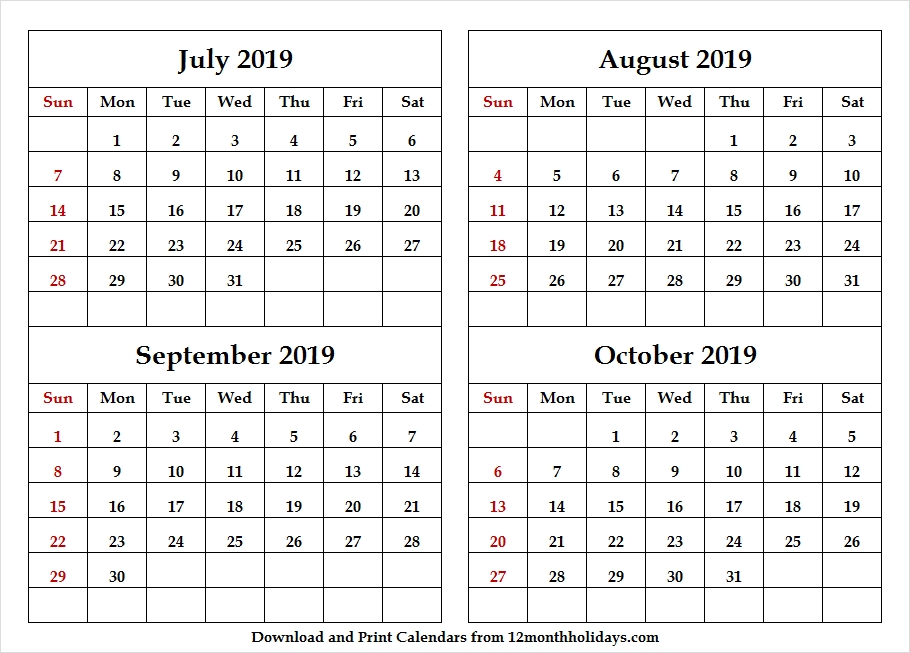 July To October 2019 Four Month Calendar
