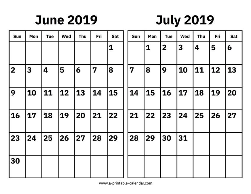 June To July 2019 Calendar Print