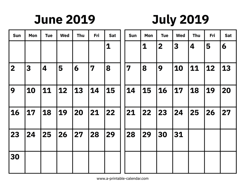 June July August September Printable Calendar 2019