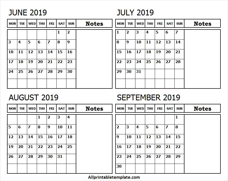 June July August September 2019 Calendar