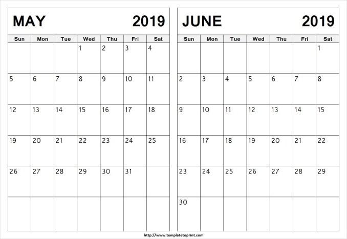 May Jun 2019 Calendar Word